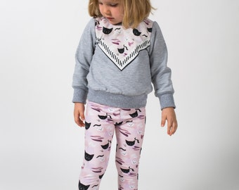 kitty print baby toddler sweatshirt bamboo fleece Supayana