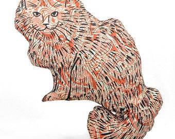 decorative pillow, cat pillow, kitty pillow, animal pillow, big fluffy cat shaped orange paisley fabric