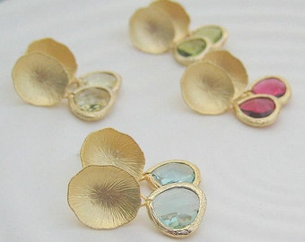 Faceted Glass Teardrop Lily Pad Earrings