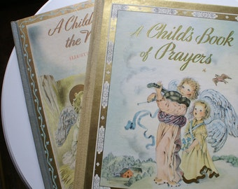 2 Vintage MASHA Illustrated Books, Child's Book of Prayers, Story of the Nativity