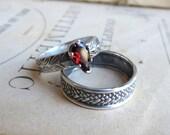Garnet Pear Gemstone Ring Garnet Solitaire Ring Alternative Engagement Ring Birthstone Ring Stacking Gemstone Ring