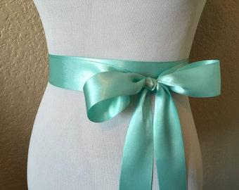 Aqua Bridal Sash.Aqua Ribbon Sash.Aqua Ribbon Belt.Aqua Blue Bridal Sash.Aqua Wedding Sash.Light Turquoise sash.Flower girl.Bridesmaid.Bride