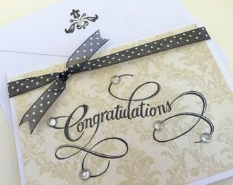 Chic CONGRATULATIONS Handmade Card.Handmade Wedding Card.Handmade Baby Card.Baby Boy Card.Baby Girl Card.Champagne Wedding Card.Damask Card