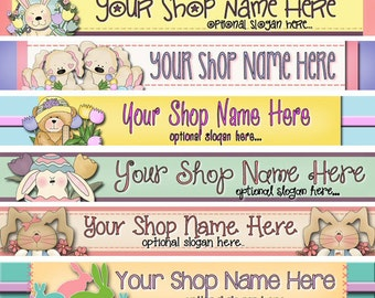 Raggedy Dreams Design - Premade ETSY Shop Banner - SHOP ICON - Seasonal Primitive Easter Bunnies Bears Tulips