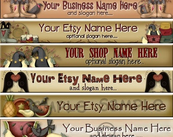 Premade Etsy Shop Banner - Etsy Banner - Matching Shop Icon - Folk Art - Primitive Crows - Candles - Hearts - Raggedy Dreams  Designs