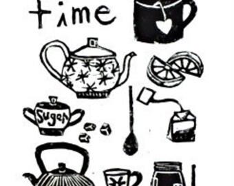 "tea time - linoleum block print - 9""x12"" wall art"