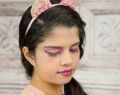Lolita Cat Ears, Cat Ears, Pink and Ivory, Costume Cat Ears, Cat Costume, Mori Kei, Lolita, Sweet Lolita, Cat Headband