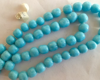 Vintage glass beads (50)  strand tagged Japanese Japan turquoise blue  opaque 8mm bumpy baroque beads Miriam Haskell 14 inch (50)