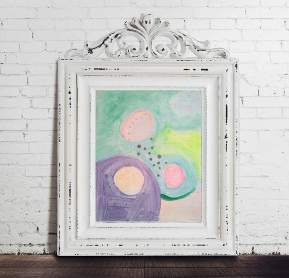 Abstract Painting Contemporary Art Acrylic Mixed Media Abstract Landscape Pastel Neon Silver Light