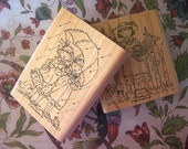 Stampin Up FRIENDS 2002 Retired 2 Wood Mounted Rubber Stamps Girl with Basket, Girls Under Umbrella