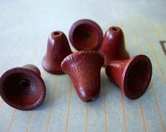 "Wooden Bells Jewelry Cones Necklace Ends 1/2"" dark stain lot of 6 (3 pairs) bead caps"