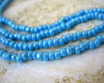 Size 8-0 Charlotte Seed Beads Medium French BLUE LUSTRE true cuts 2 strands (12 grams) NOS
