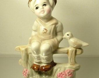 Vintage/ estate 1970s retro kitsch beige cream ceramic little boy with bird statue figure ornament