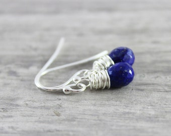 Lapis Lazuli Earrings, Dark Blue Earrings, Lapis Gemstone Earrings, Small Dangle Earrings, Sterling Silver Earrings, Wire Wrap Earrings