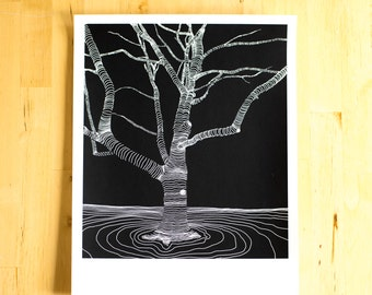 Tree Screen Print Abstract Modern Forest Art  11x14