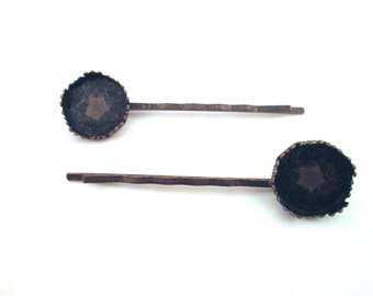 10 15mm bezel bobby pins, brass plated