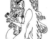 Downloadable coloring page The Diminishing fantasy royal elf art nouveau