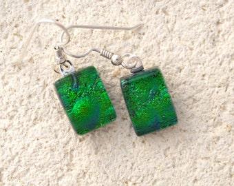Petite Emerald Earrings,  Petite Earrings, Green Earrings, Fused Glass Jewelry, Dichroic Jewelry Dangle Drop Earrings Sterling, 011616e100