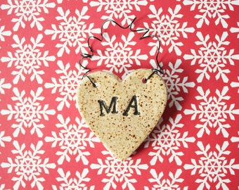 Ma Heart Ornament - ceramic clay, personalized - handmade, ready to mail
