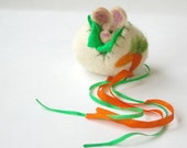 Felted Wool Spring Egg Toy: Sweet Something in 'Carrots' (Silk and Wool Surprise Egg with Bunny)