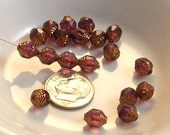 Czech Glass Cathedral Beads Wavy 8x6mm Fire Polish Amethyst with Gold (Qty 10) SRB-8x6FP-CW-AP-G