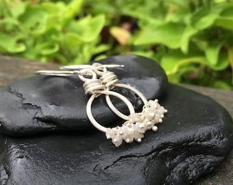 Genuine Raw Diamond Gemstone Sterling Silver Earrings, Cluster Dangle, April Birthstone, Handmade Jewelry, Diamond Chip, Gray Smoke White