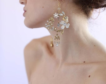 Bridal earrings - Dramatic garden earrings - Style 629 - Made to Order