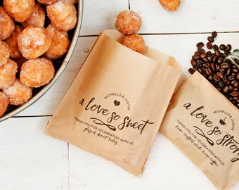 Wedding Favor Bags - Love so Strong & Love so Sweet - Donut and Coffee Favor Pair - 20 Kraft Grease Resistant Bags