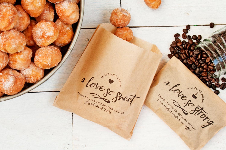 Wedding Favor Donut Bags : Wedding Favor Bags Love so Strong & Love so Sweet Donut