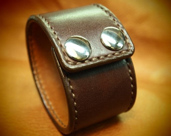 Brown Leather cuff bracelet Bridle Leather, calf lined hand stitched wristband Custom made for You in NYC by Freddie Matara