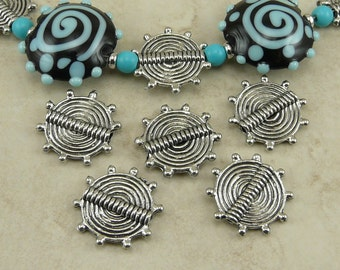 5 Tribal Spiral Disk Beads - Ornate Sun Flat Zen Spiritual Concentric Circles - Raw American Made Lead Free Pewter - I ship internationally