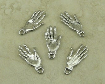 5 Palm Reading Hand Charms > Palmistry Fortune Telling Mystical Magic - Raw Lead Free Pewter Silver American Made I ship Internationally