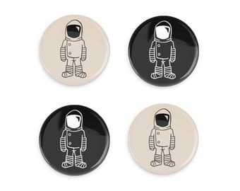 Pin Gift Set Astronaut Brave Moonman Spaceman Black and White Pinback Button Gift For Him Astronaut Pin or Refrigerator Magnet Outer Space