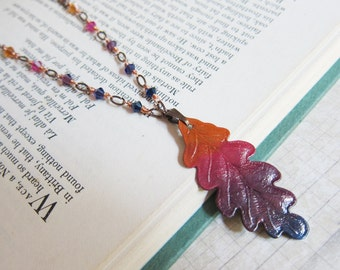 Vibrant Harvest - Hand-painted Ombre Leaf Necklace
