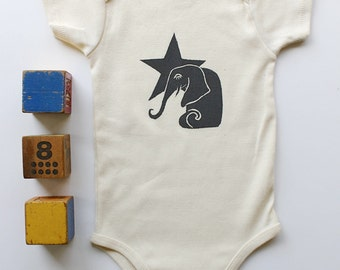 Elephant and Star Organic cotton short sleeve onesie, Made in Seattle, Available in long sleeve, Gift for expecting parents