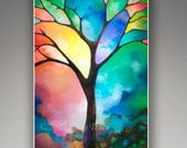 Abstract tree giclee prints on fine art paper or canvas from my original abstract painting stained glass appearance Tree of Light