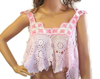 Crochet Hippie Crop Top Camisole Style Lace Doily Top Coachella Clothing Womens Clothes