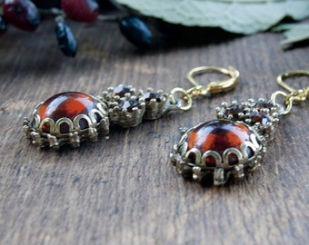 Amber Glow Vintage Glass Domed Earrings