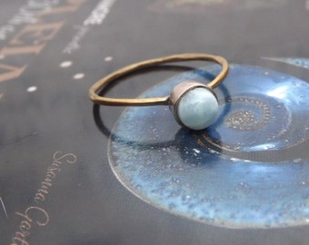 HOLIDAY SALE Genuine Dominican Larimar Stack Rings - Mix and Match Stack Rings Collection size 7.5, size 8.25