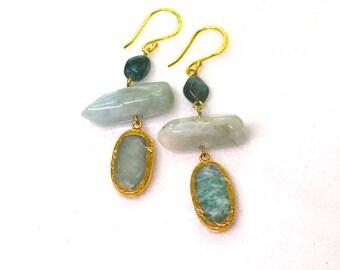 Waves...Aquamarine, Blue Apatite drop Earrings in 22kg vermeil...