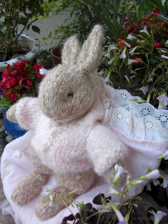 Reserved for Laura/ Mohair Sleeping Bunny Doll, Hand Knit Stuffed Animal, Heirloom Collectible/ Dandelion; Soft as a Cloud