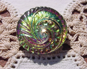 Lime Rainbow Art Deco Spiral Fan Czech Glass Button
