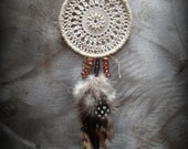 Dream Catcher Necklace, Bohemian, Boho, Handmade, Lace, Crochet, Antique Copper, Feathers, Monicaj