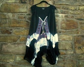 FREE U.S. SHIPPING ~Size 3X ~ Jardin des Tuileries Tunic / Duster ~  gypsy / lagenlook / boho chic / wearable art~by mia baggali