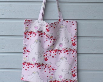 Tote shopping bag light pink reused cotton shoulderbag with Moomin Snorkmaiden hearts love