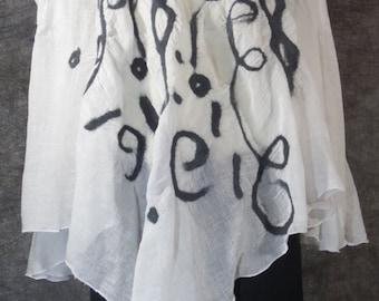 White Nuno felted Cotton Gauze  Poncho
