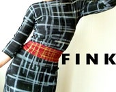 Icon - iheartfink Handmade Hand Printed Womens Made to Order Black Plaid Fitted Jersey Dress