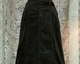 Floor Length Black Velvet Skirt, Gothic Witchy Steampunk, Medium