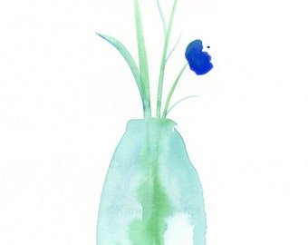 "Original watercolor painting ""Cobalt Blue Posies"""
