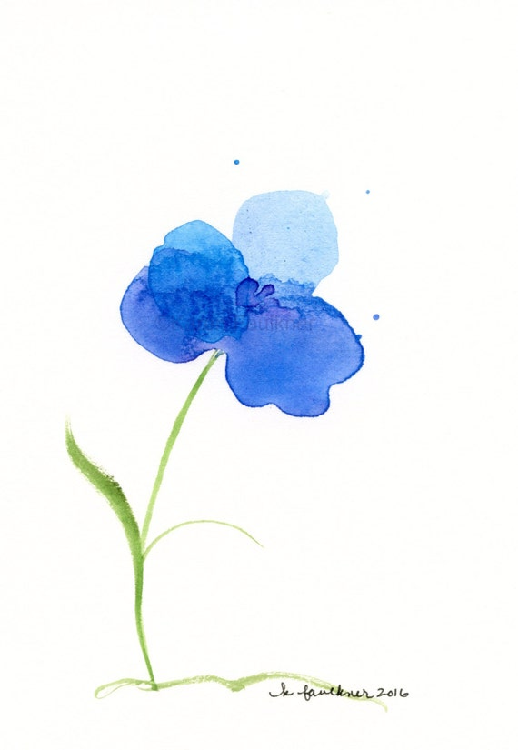 "Original watercolor painting of a blue flower: ""Water Orchid"""